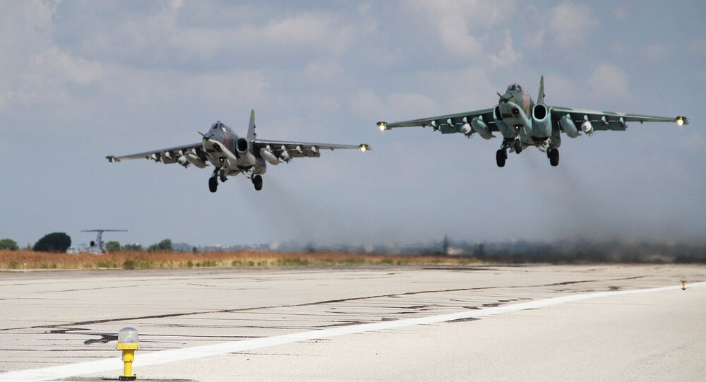 Russian Su-25 close air support aircraft taking off from the Hmeymim airbase in Syria.