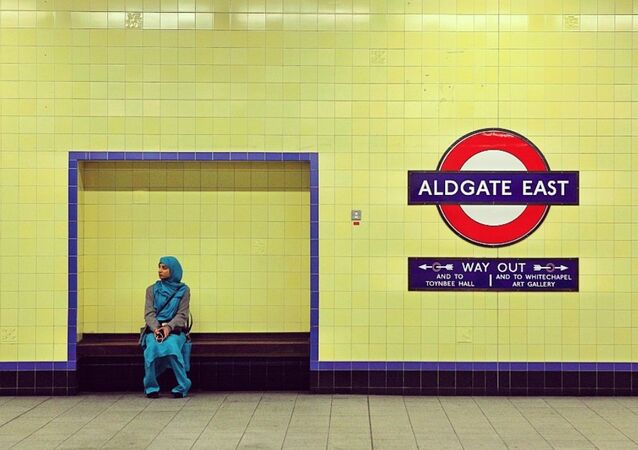 A Muslim woman at London underground