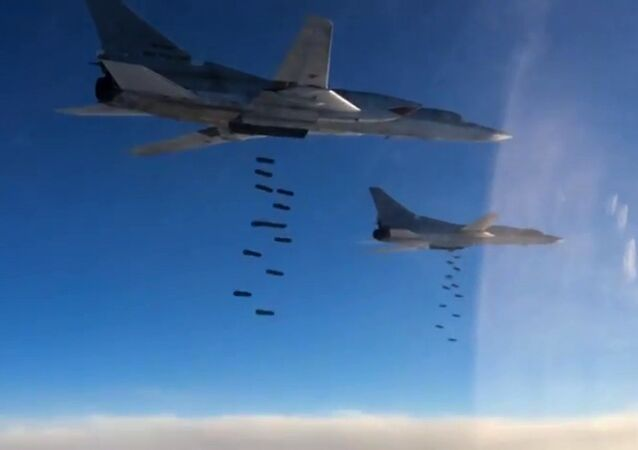 A Tupolev Tu-22M3 long-range strategic and maritime strike bomber of the Russian Aerospace Forces during a combat flight to strike the Islamic State infrastructure facilities in Syria by OFAB-25-270 fragmentation high explosive bombs