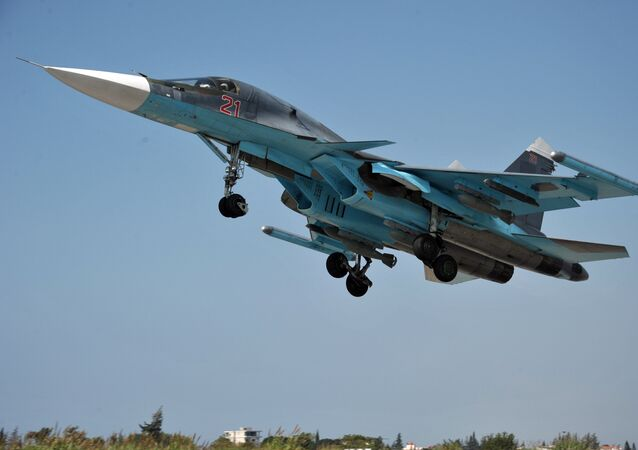 A Su-34 multipurpose strike bomber of the Russian Aerospace Force takes off from the Hmeymim Air Base in the Syrian province of Latakia.File photo