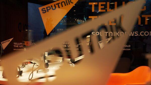 Pavilion of the Sputnik international information brand at the Lenexpo Exhibition Center ahead of the 2015 St. Petersburg International Economic Forum - Sputnik International