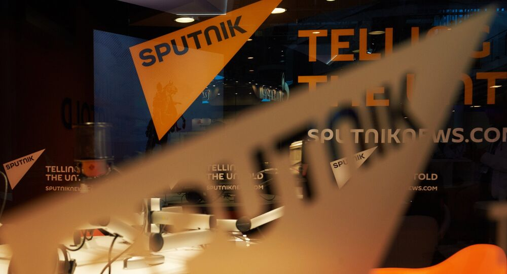 Pavilion of the Sputnik international information brand at the Lenexpo Exhibition Center ahead of the 2015 St. Petersburg International Economic Forum