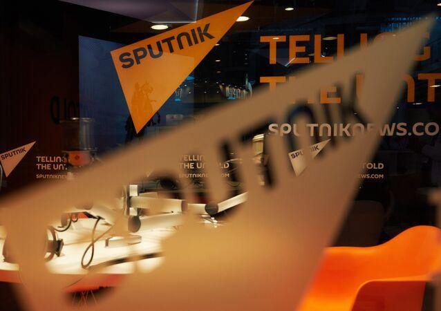 Pavilion of the Sputnik international information brand at the Lenexpo Exhibition Center ahead of the 2015 St. Petersburg International Economic Forum
