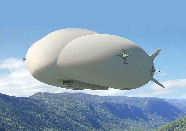 An artist's rendering of Lockheed Martin's new LMH1 hybrid airship
