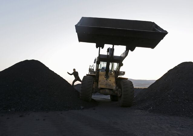 A driver gets off a loading vehicle at local businessman Sun Meng's small coal depot near a coal mine of the state-owned Longmay Group on the outskirts of Jixi, in Heilongjiang province, China, October 23, 2015