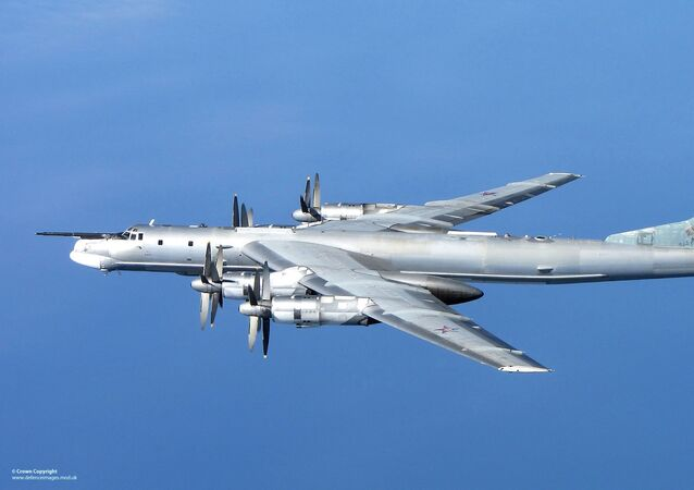 A Russian Tu-95 Bear 'H' photographed from a RAF Typhoon Quick Reaction Alert aircraft (QRA) with 6 Squadron from RAF Leuchars in Scotland in April 2014