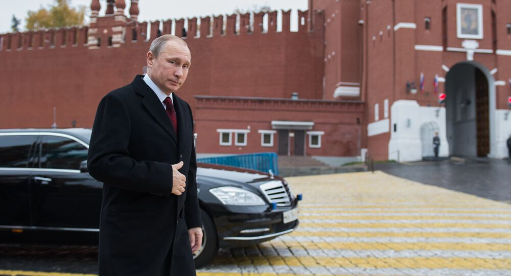 Russian President Vladimir Putin is seen here on Red Square, Moscow