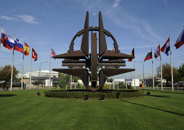 The NATO emblem is seen before a defence ministers meeting at the NATO headquarters in Brussels on October 22, 2013