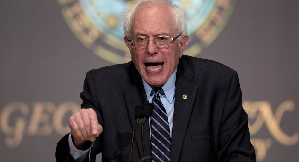Democratic presidential candidate Sen. Bernie Sanders, I-Vt., speaks at Georgetown University in Washington, Thursday, Nov. 19, 2015, about the meaning of democratic socialism and other topics