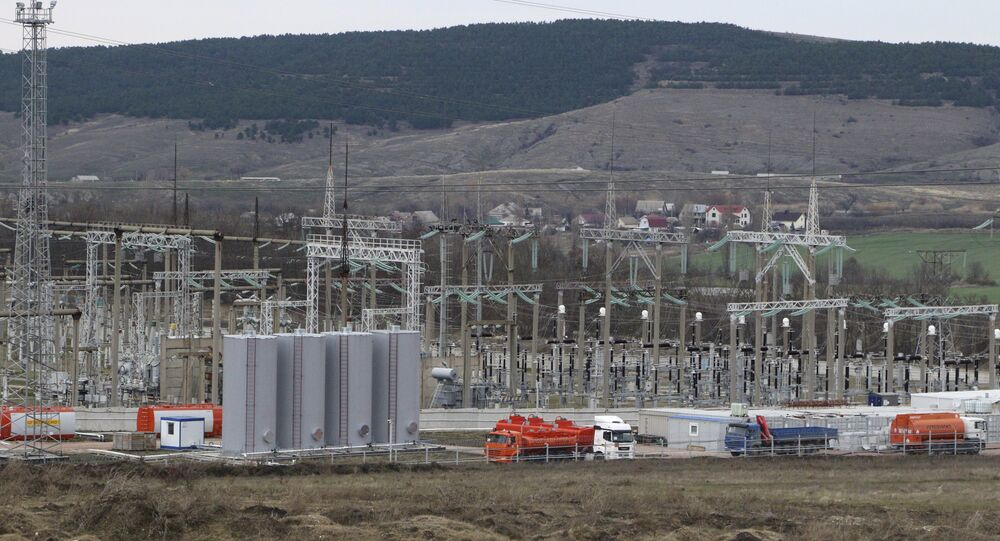 A general view shows the facilities of a mobile gas turbine generator, which was turned on due to recent power outages after pylons carrying electricity were blown up, in the settlement of Stroganovka, Simferopol district of Crimea, November 22, 2015
