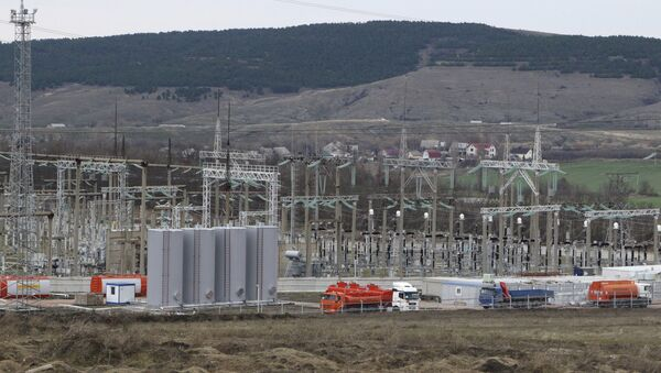 A general view shows the facilities of a mobile gas turbine generator, which was turned on due to recent power outages after pylons carrying electricity were blown up, in the settlement of Stroganovka, Simferopol district of Crimea, November 22, 2015 - Sputnik International