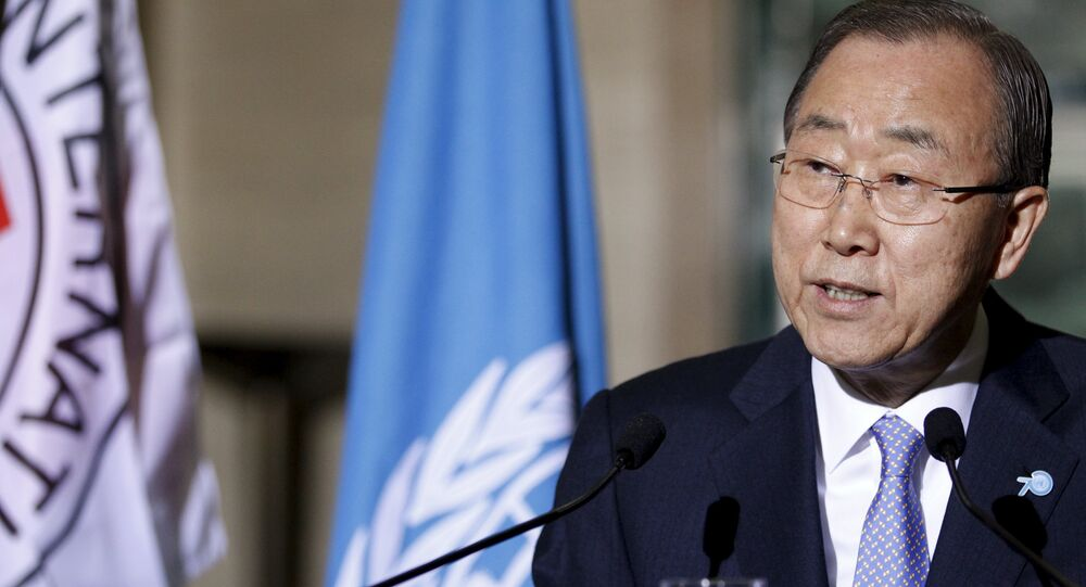 U.N. Secretary-General Ban Ki-Moon speaks to the media with International Committee of the Red Cross (ICRC) President Peter Maurer (not pictured) about the world's humanitarian crises at the United Nations European headquarters in Geneva, Switzerland, October 31, 2015