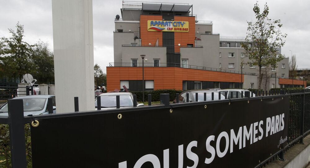 A general view shows the Appart'City hotel in Alfortville, near Paris, France, November 17, 2015 where two rooms were rented by Paris attacks suspect Salah Abdeslam, actively wanted in France and Belgium, according to sources close to the investigation. The banner reads We are Paris