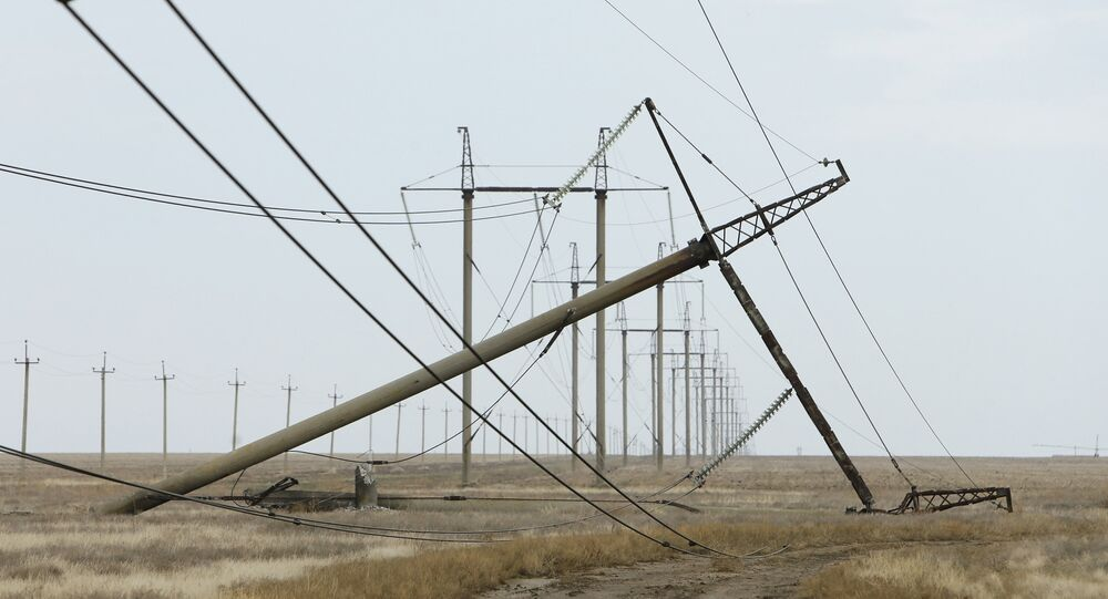 A view shows a damaged electrical pylon near the village of Chonhar in Kherson region, Ukraine, November 23, 2015