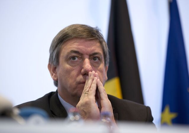 Belgium's Interior Minister Jan Jambon pauses before speaking during a media conference at the Prime Minister's office in Brussels, Saturday, Nov. 21, 2015