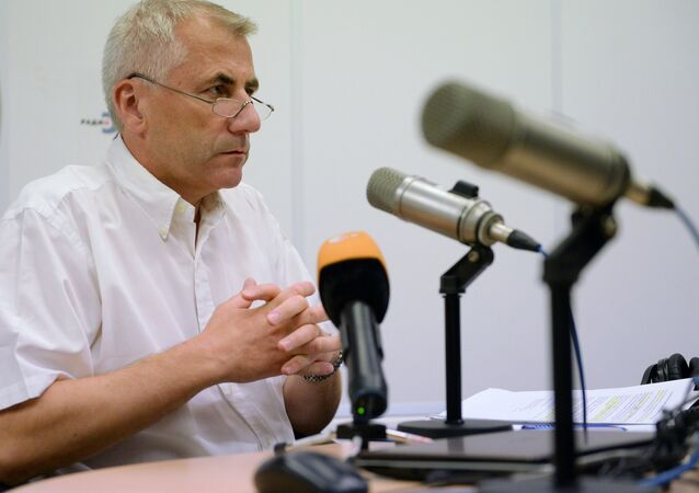 Vygaudas Usackas, head of European Union's delegation in Russia, speaks on the Ekho Moskvy radio