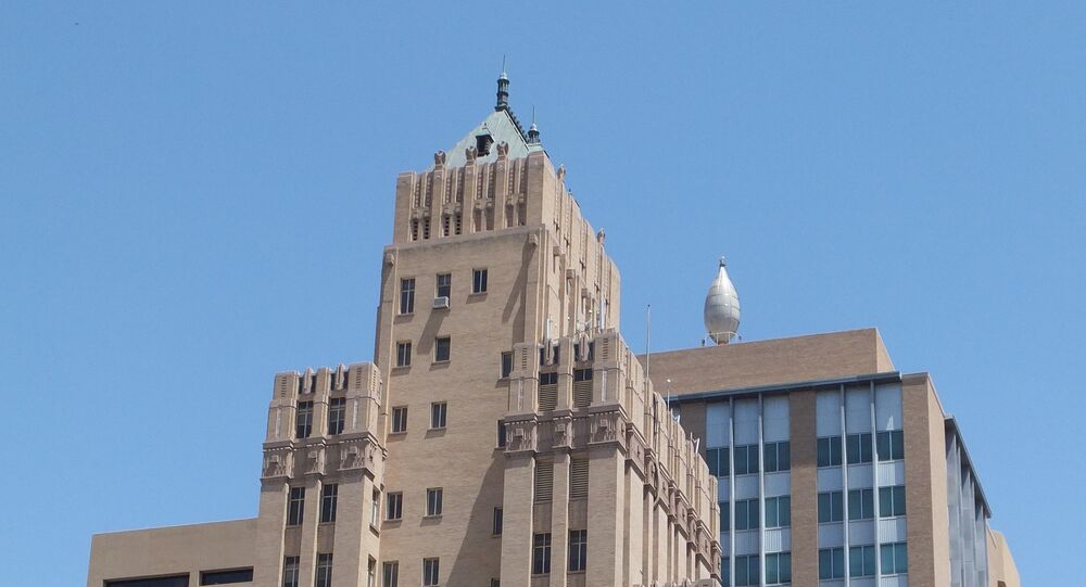 The Bassett Tower (left, designed by Trost & Trost) and El Paso Natural Gas Company Building (right); El Paso, Texas