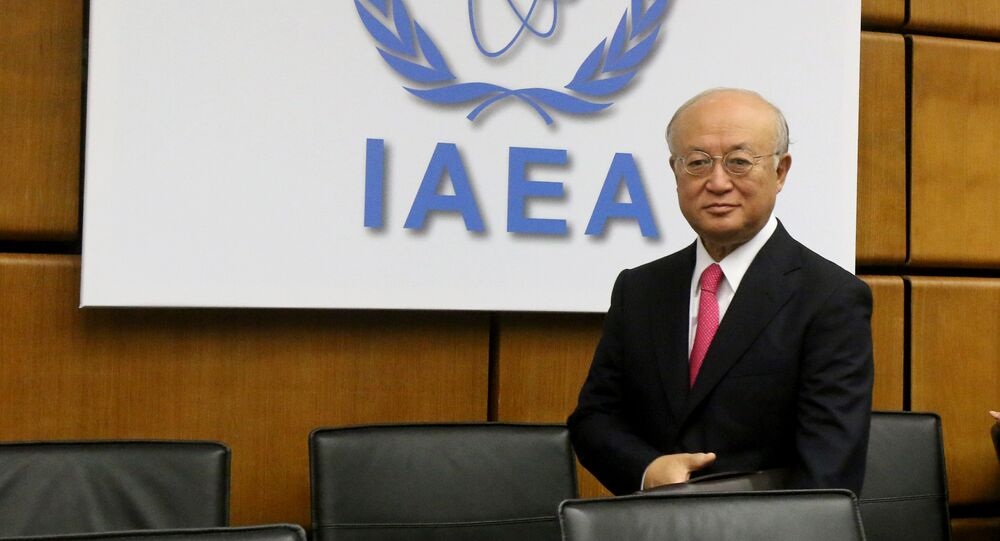 Director General of the International Atomic Energy Agency, IAEA, Yukiya Amano of Japan waits for the start of the IAEA board of governors meeting at the International Center in Vienna, Austria, Monday, Sept. 15, 2014