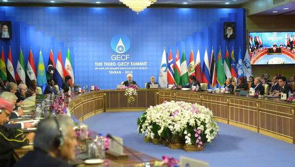 November 23, 2015. Russian President Vladimir Putin, third right, foreground, attends the summit of the heads of state and government of the Gas Exporting Countries Forum in Tehran. - Sputnik International