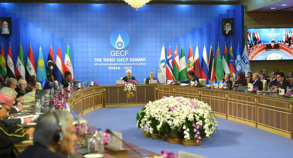 November 23, 2015. Russian President Vladimir Putin, third right, foreground, attends the summit of the heads of state and government of the Gas Exporting Countries Forum in Tehran.