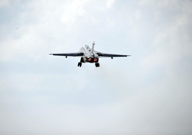 Russian Sukhoi Su-24 bomber takes off from Hmeymim Air Base in the Latakia province, Syria.
