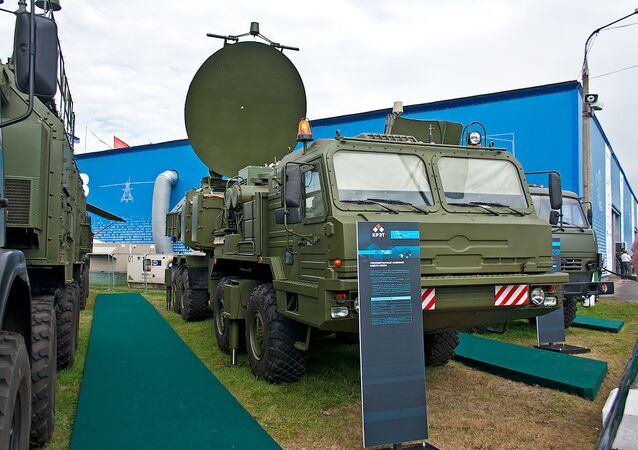 The Krasukha mobile, ground-based electronic warfare system.