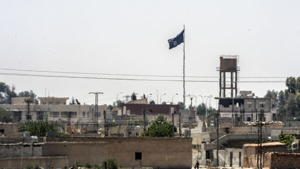In a picture taken from Alcakale, Turkey, a flag of the Islamic State flutters amongst buildings in the center of the Syrian city Tal Abyad on June 13, 2015 - Sputnik International