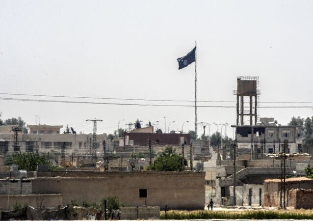 In a picture taken from Alcakale, Turkey, a flag of the Islamic State flutters amongst buildings in the center of the Syrian city Tal Abyad on June 13, 2015