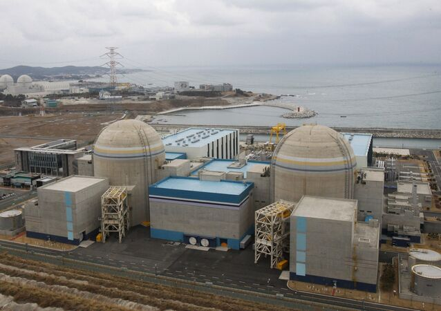 In this Feb. 5, 2013 photo, Shin-Kori No. 2 nuclear power plant, left in foreground, stands next to Shin-Kori No. 1 plant, right foreground, in Ulsan, South Korea