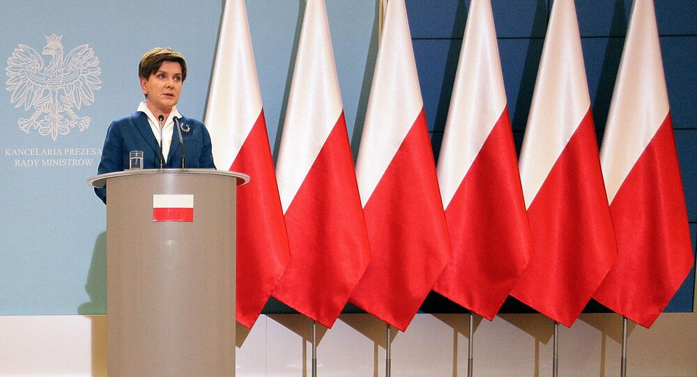 Poland's Prime Minister Beata Szydlo attends the weekly news conference in Warsaw, Poland, on Tuesday Nov. 24, 2015.