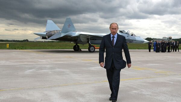 Prime Minister Vladimir Putin at the test if a T-50 fifth generation fighter - Sputnik International