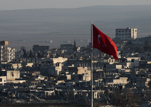 A view of the devastated Syrian city of Ain al-Arab, also known as Kobani, seen from border town of Suruc, Turkey.