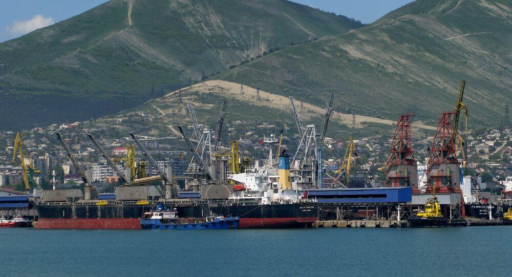 View at the cargo port of Novorossiysk.