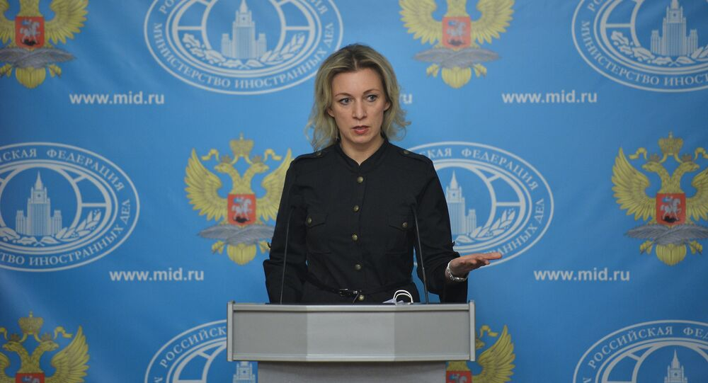 Russian Foreign Office spokesperson Maria Zakharova seen at a briefing on current political affairs.