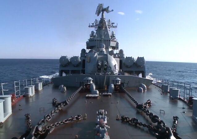Missile cruiser Moskva came to the coast of Latakia for the defense area