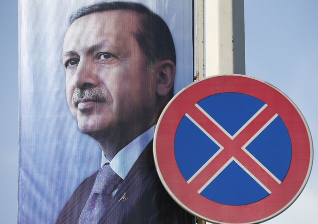 A poster with a picture of Turkey's President Recep Tayyip Erdogan, displayed in Istanbul, Turkey