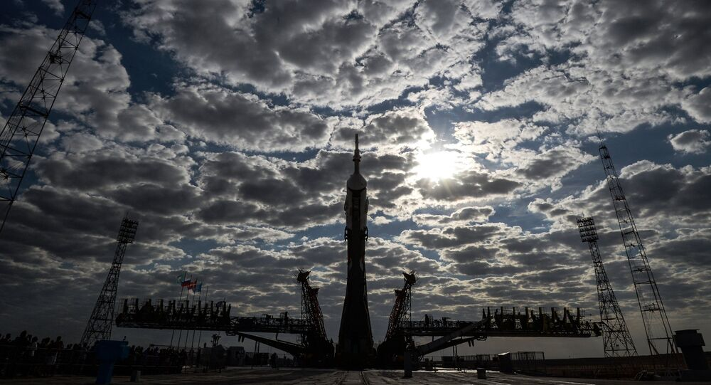 Soyuz TMA-18M spacecraft rolled out to launch pad at Baikonur Cosmodrome
