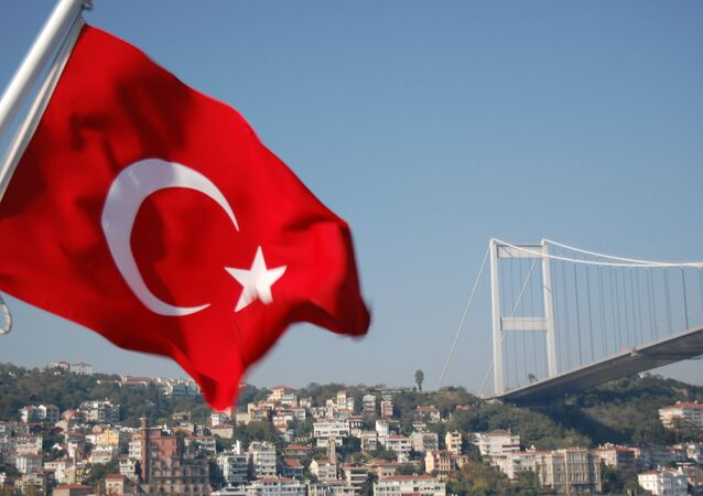 Bosphorus Bridge and Turkish Flag