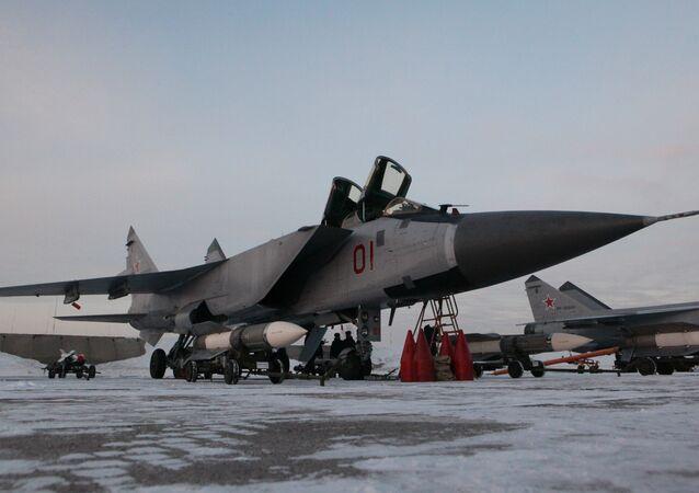 Interceptor fighter MiG-31BM at the airbase in Kansk