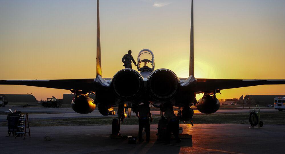 U.S. Air Force F-15E Strike Eagle sits after shortly landing Nov. 12, 2015, at Incirlik Air Base, Turkey