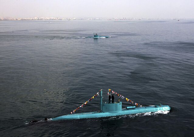 Iran's newly launched Ghadir submarines move in the southern port of Bandar Abbas in Persian Gulf, Iran