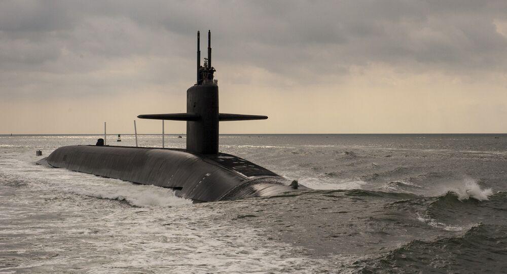 Ohio-class ballistic missile submarine USS Maryland (SSBN 738) transits the Saint Marys River