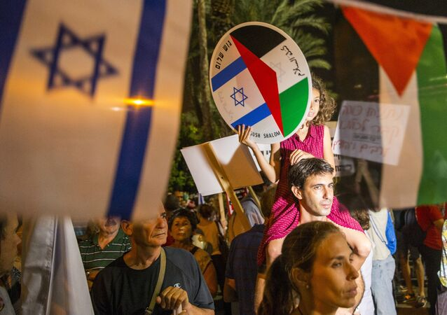A young girl holds a bearing images of the Israeli and Palestinian flags during a Israeli left-wing activist rally demanding fresh Israeli-Palestinian peace talks (File)