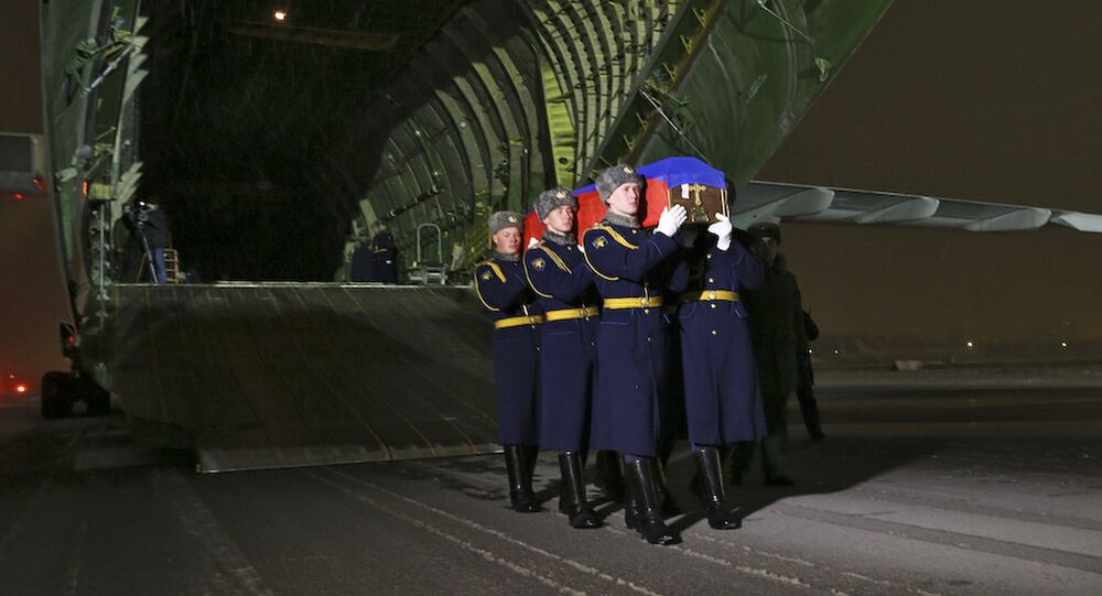The body of the pilot of Russia's Su-24 bomber that was shot down by Turkey last week has arrived at the Chkalovsky Airport near Moscow
