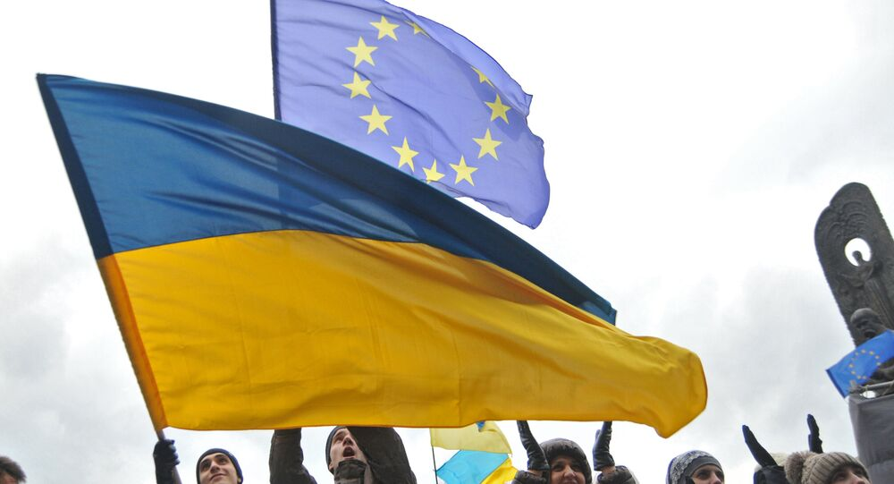 Participants of a rally held by supporters of Ukraine's EU integration. File photo