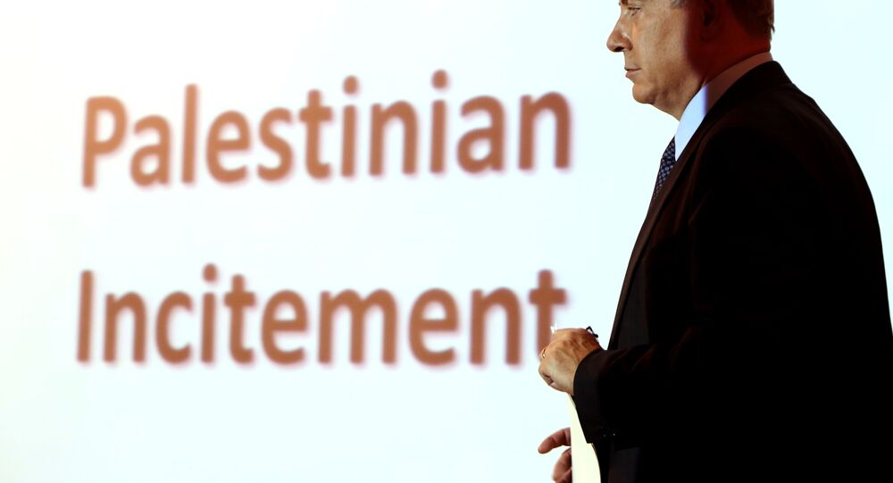 Israeli Prime Minister Benjamin Netanyahu holds a press conference at the foreign ministry in Jerusalem on October 15, 2015.