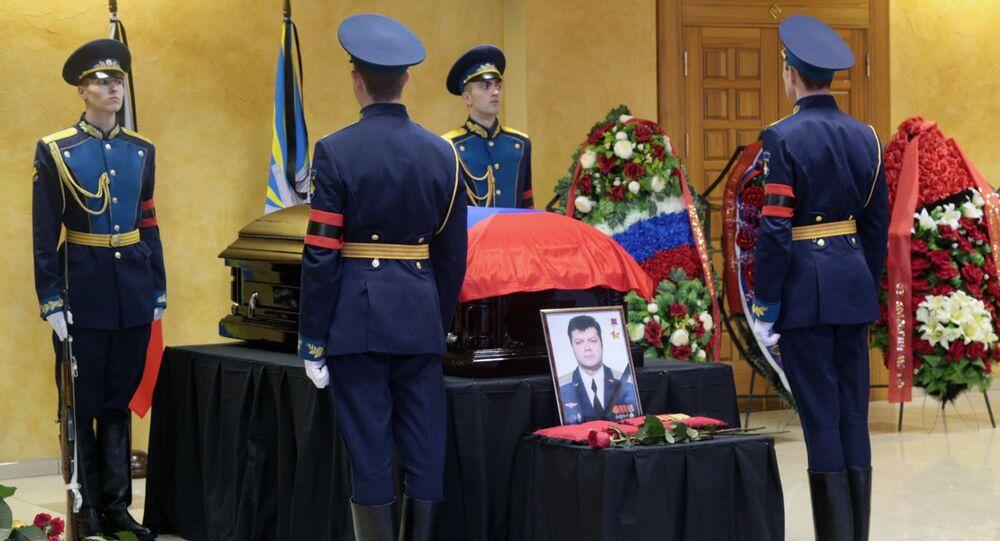 Funeral of pilot Oleg Peshkov killed in Syria