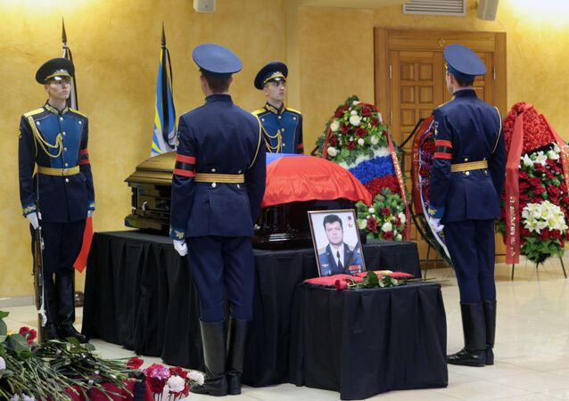 Funeral of pilot Oleg Peshkov killed in Syria