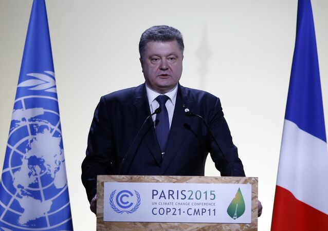 Ukraine 's President Petro Poroshenko delivers his statement at the COP21, United Nations Climate Change Conference, in Le Bourget, outside Paris, Monday, Nov. 30, 2015