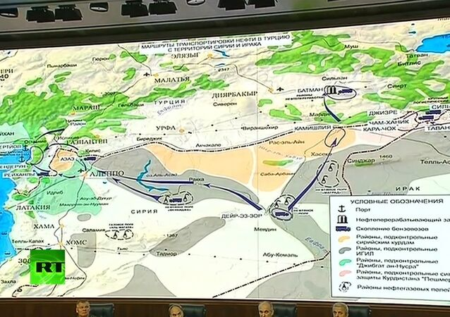 A map, presented by the Russian Defense Ministry last week, showing the three main routes of the alleged oil smuggling operations from Syria and Iraq into Turkey.